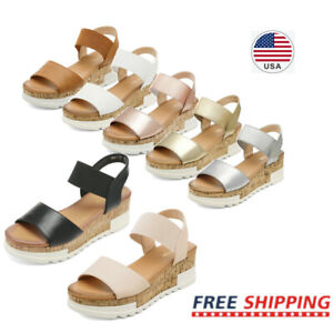 Women's Ankle Strap Flatform Platform Casual Wedge Sandals Open Toe Sandals