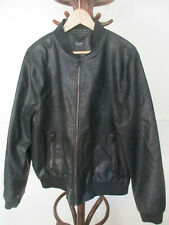 mens NEW LOOK BLACK PVC FAUX LEATHER BOMBER STYLE COAT SIZE XL