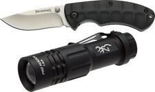"Browning 3715353 Black Pro Hunter Combo Folding Knife 2.5"" Blade & Flashlight"
