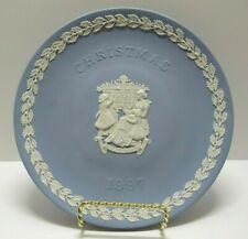 Wedgwood 1997 Christmas Plate - Pale Blue & White Jasperware - Merry Christmas
