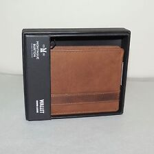 NEW Montague Burton BROWN LEATHER WALLET w/Distressed Finish - Gift Boxed