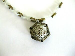 """Unique Art Glass Pendant 1"""" w. Metal Wrapping: 18"""" Early Plastic Chain Necklace"""