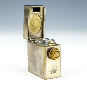 Antique K.K. Priv Silver Plated - Flip Top Pocket Travel Inkwell Ink Bottle