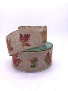 """Autumn Leaves Wired Ribbon 63.5mm 2.5"""" per meter"""