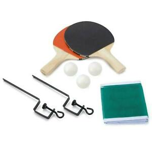 Table Tennis Complete Set 2 Paddle Bats 3 Ping Pong Balls Net Family Indoor Game