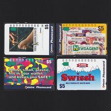 LOT A - Four (4) x MINT $5 Telecom Telstra Phonecards different prefix numbers
