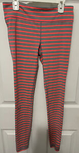 Under Armour Gray/Bright Pink Stripped Athletic Leggings Women's Size S EUC