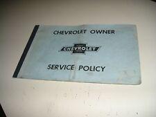 1959,1960 ORIGINAL CHEVROLET/CORVETTE/IMPALA OWNER SERVICE POLICY MANUAL