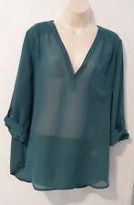 Maurices Women Green Long Sleeve Blouse Xl
