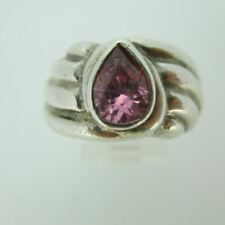 Sterling Silver Ring Pink CZ with  Wave Texture Sides Size 8