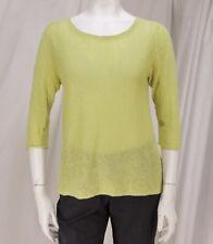 Eileen Fisher sz S Yellow Green 100% Linen 3/4 Sleeve Pullover Knit Top Sweater