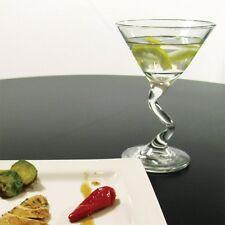 """Set of 2 Martini Glasses Zig Zag Stems Desserts Beverage 6.5"""" Tall Glass"""