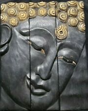 Three Piece- Black Wooden Budda With Gold  Accents Wall Art