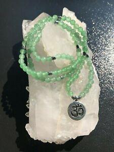 Green Aventurine Stone Mala Bracelet with OM Charm 4MM 108 Beads
