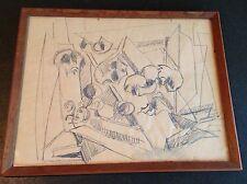 Hans Burkhardt - Original Drawing on Paper  Framed Signed & Dated 1956
