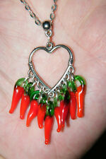 """HEART NECKLACE RED GLASS CHILI PEPPERS FILIGREE SILVER EAR WIRES! 21"""" Chain NEW!"""