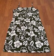 Hawaiian Juniors Dress Large Floral 100% Cotton Zipper Back US Made Sleeveless