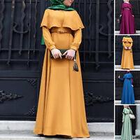 Fashion Retro Women Cocktail Maxi Dresses Muslim Robe Abaya Jilbab Islamic Cloak