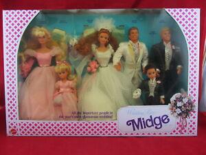 Wedding Party Midge Barbie Doll Gift Set Kelly Alan Ken Todd 1990 Mattel 9852