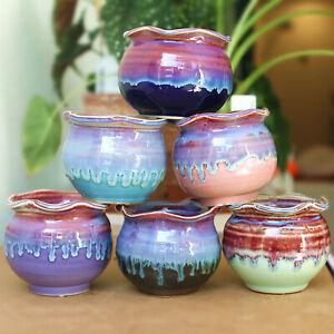 Ceramic Plant Pot Handmade Wave edge Planter Succulent Flower Cactus Pots