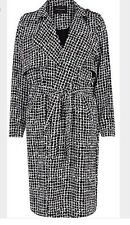 RIVER ISLAND WOMEN'S CHECKED TRENCH COAT BLACK/WHITE US SZ 6 NWT $86