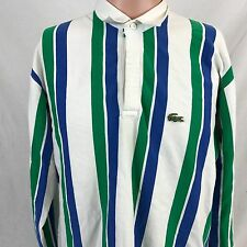 Vintage IZOD Lacoste Striped Long Sleeve Button Up Shirt M White Green Blue