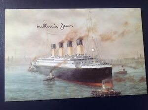 Colour postcard Titanic The Exhibition US E.D Walker signed Millvina Dean