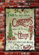 Vintage Style Twas The Night Before Christmas Metal Printed Sign