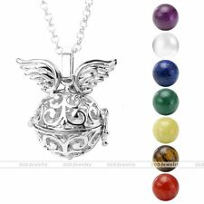 Silvery Angel Wing 7 Chakra Gemstone Ball Beads Locket Cage Pendant Necklace Set