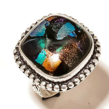 Stylish Dichroic Glass Gemstone silver plated Handmade Statement Boho Ring US-8