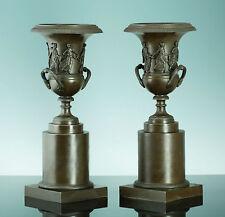 Paar klassizistische Bronze Amphoren Kratervasen Frankreich 1850