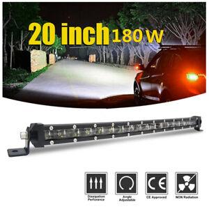 20in 180W Slim Single Row Spot Beam Off-Road Car LED Work Light Bar Waterproof