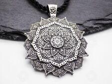 Buddhist Necklace OM Mandala Healing Flower Lotus Pendant Silver Buddha Reiki