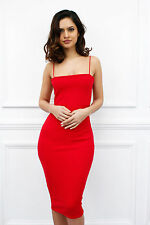 Womens Glam Spaghetti Strap Knee Length Midi Bodycon Party Cocktail Dress UK 10 Red