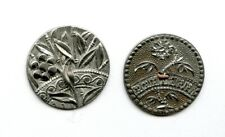 """2 SUPER WHITE METAL/PEWTER button--VERY DETAILED FLOWERS--LEAVES--1 1/16"""" & 1"""""""
