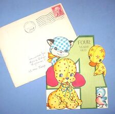 VINTAGE 4 YR OLD BIRTHDAY CARD CALICO PETS ORN. MAILER 1955 W/GUM TAPED INSIDE