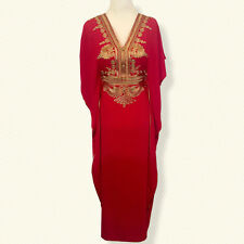 Moroccan kaftan caftan, Embroidery Batwing Maxi Cotton Dress, One size Abaya