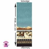 Michael Miller Round Up Border Ranch Horses 100% Cotton Fabric By The Yard