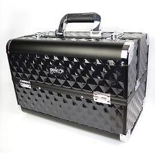 Caja de Maquillaje Caja Neceser Almacenamiento de vanidad diseñador Resistente Negro #N0041
