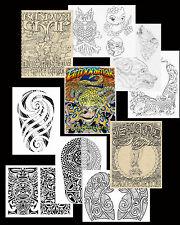 3 Tattoo Art Sketch Books Hawaii Island Tribal, Animals Flash Liner Polynesian