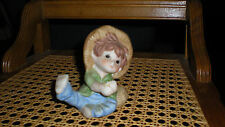 Whimsical Little Country Boy Fisherman Figurine- Ceramic -- Not perfect