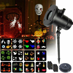 LED Halloween Christmas Projector Lights Moving Laser Garden Outdoor Party Lamp