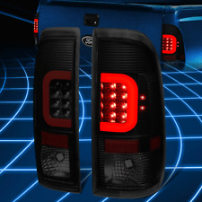 Black Smoked 3D LED Tail Light W/Red C-Style Bar For 09-16 Ford F350/F450 LH&RH