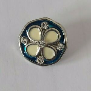 12mm mini petite snap charm for Ginger Snap jewelry-blue & white flower