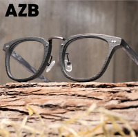 Handmade Unisex Acetate Wood-grain Optical Eyeglass Frame Square Retro Glasses