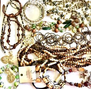Brown Gold Green Jewelry Lot 15 pcs To Wear Detangled Seperated Boho Glass Wood