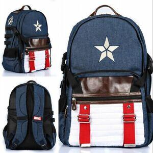 Marvel Avengers Endgame Captain America Backpack Shoulder Bag Computer Bag Gift