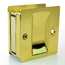 "Passage Sliding Pocket Door Lock 2.75"" x 2.5"" Polished Brass, Taymor 25-PH580PB"