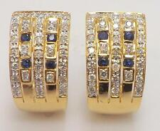 14KT YELLOW GOLD WIDE GENUINE DIAMOND & SAPPHIRE OMEGA BACK PIERCED EARRINGS