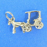 Vintage Horse and Carriage Sterling Silver Charm 4.73g. 1""